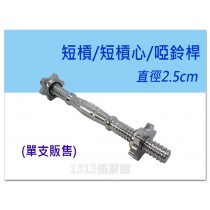 【1313健康館】電鍍短槓 啞鈴桿 / 短槓心 / 孔徑2.5公分 / 單支販售 / 重量訓練